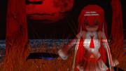 【MMD会心の一枚選手権】 呪音キク 【呪恨の紅い月】