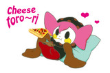 ピザを食べるシャルロッテ