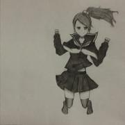 【アナログ】セーラーJKを描いてみた