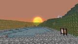 【Minecraft】茶番用建築物からの夕日
