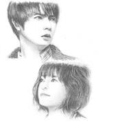 陽だまりの彼女主演の松本潤さんと上野樹里さんを描いてみた。