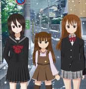 三姉妹と雪の日