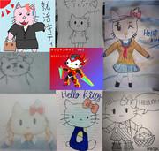 8人でキティちゃん描いてみた