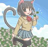 お題/ブレザー制服の格好で猫耳を装着している天倉繭(Pixivの色違い)