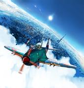 東京上空を飛行する紫電改