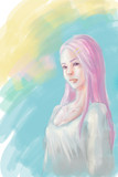 ピンク色の髪の女の子