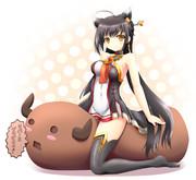 冥王ちゃんがらんらんチョコに乗ってこちらを見ているようです