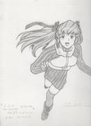 14歳のハマーン・カーン シャーペンで描いてみた