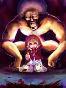 狼を狩っているダイナマイトボディおばあさんと闇赤ずきん