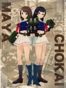 【MMD艦これ】古びたブロマイド風
