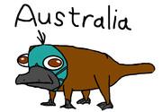 オーストラリアの珍獣カモノハシのコスプレをしたカモノハシのペリー