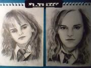 エマ・ワトソンさんのハリーポッター前期と後期を同時に描いてみた。