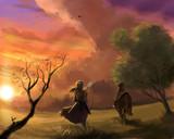 黄昏の草原に行く