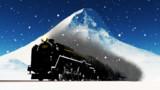 雪の中を走る蒸気機関車