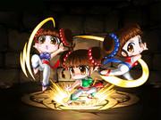 パズドラ風レトロゲームギャルカード〜中国三人娘(東風、北風、西風/ストライダー飛竜)