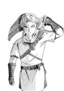 【ゼルダの伝説】大人リンク立ち姿【線画】