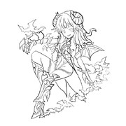 No.769☆☆☆悪魔タイプ 魅惑の夜魔・ダークレディ の線画