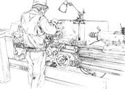 工場 旋盤作業 アナログ