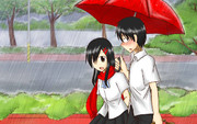 雨の中を歩いて学生