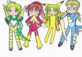 シノンの4人にポケモソ風のボディスーツを着せてみた