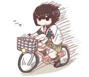 自転車を買ってもらっておおはしゃぎする日向