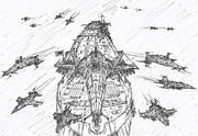 宇宙空母アカギと飛行編隊
