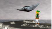 嵐の王(マダラトビエイ)と対峙するリノ=ライト