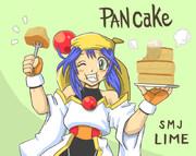 パンケーキを大食いするライムちゃん