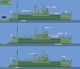 W型戦時標準船(青函連絡船)比較図