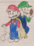 頑張って描いたマリオ&ルイージに色をつけてみた(アナログ)
