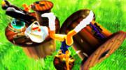 大草原のスプールの上できんのたまを股に挟みルーズソックス・スクール水着で逆立ち