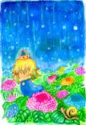 雨の世界でのできごと。