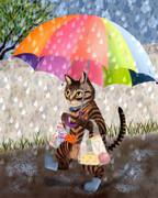雨の日 お使いに行く猫