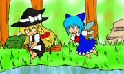 森で遊ぶ人間と妖精