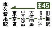 西武バス側面幕 田45東久留米駅