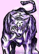 アナログで虎(?)を描いてみた。