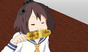 雪風は  焼きモロコシを  食べる