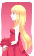 真っ赤なドレスでおめかしして