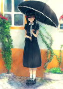 日傘少女と街の彩り