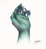 3色ボールペンで手を描いてみまた