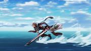 解放者の力で水上スキーをするライトニングさん