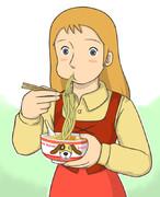 味噌ラーメンを食べるペリーヌ・パンダボアヌ