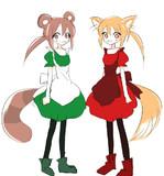 赤い狐と緑のたぬき