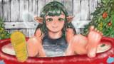 庭でフウラさんが水浴びするだけの健康的な絵