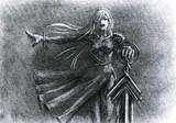 曙に立つ女剣士