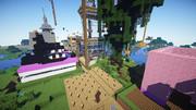 マイクラサーバー16x建築大会 ツリーハウス エンドラの顔と豚さんのおしり建築