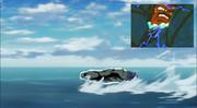 パラガスが一人用ポッドで水上スキー