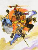 公式でFF5の48時間放送があるんで暁の四戦士描いてみた ´・ω・) チラッ