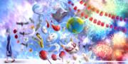 ファンアート 林檎花火とソーダの海