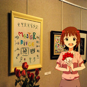 アリーナライブへの想いを込めた絵が、ギャラリーに飾られて嬉しそうな春香さん。